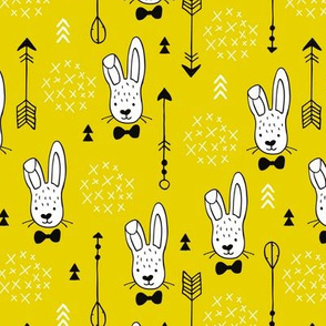 Cool hipster white bunny and geometric arrows spring easter design in gender neutral yellow