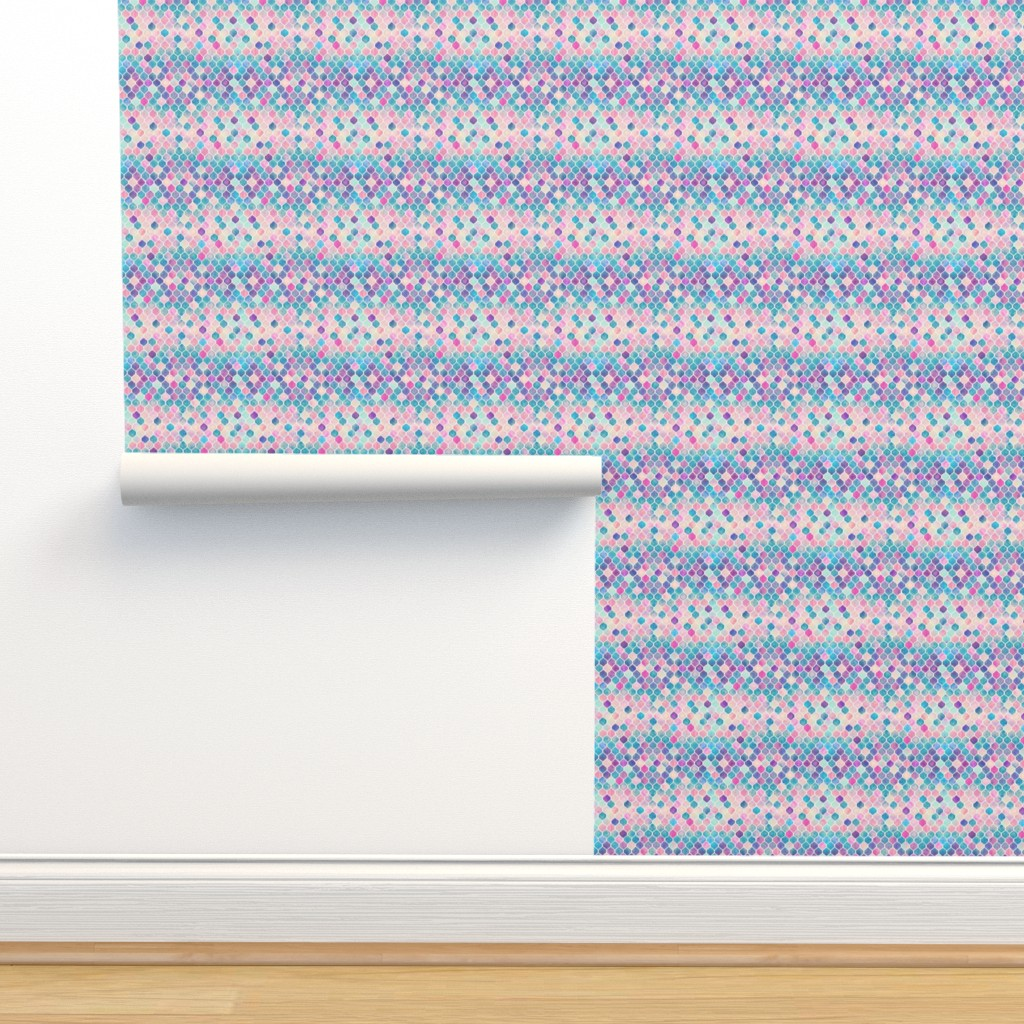 Isobar Durable Wallpaper featuring Extra Tiny Rainbow Pastel Watercolor Moroccan Pattern by micklyn