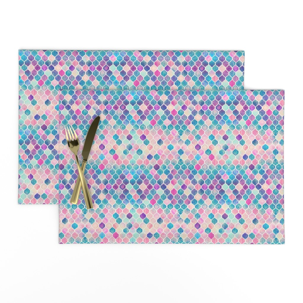 Lamona Cloth Placemats featuring Extra Tiny Rainbow Pastel Watercolor Moroccan Pattern by micklyn