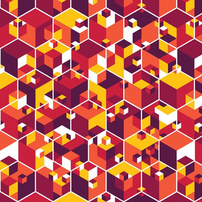 Hexagon Cubes - warm