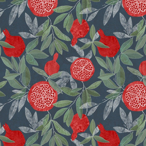 Pomegranate garden on navy