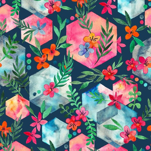 Whimsical Hexagon Garden on dark blue
