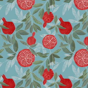 Pomegranates garden on sky blue