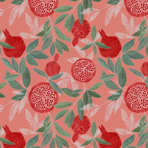 Pomegranate garden on peach pink