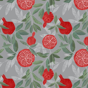 Pomegranate garden on grey