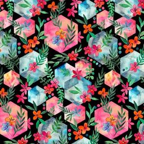 Whimsical Hexagon Garden on black small version