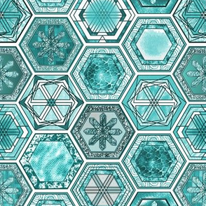 Hexagons, Icy Blue