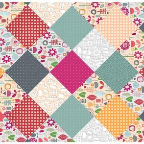 paper cut flower diamonds tea towel