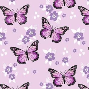 butterfly fabric // monarch butterflies spring florals design andrea lauren fabric - purple