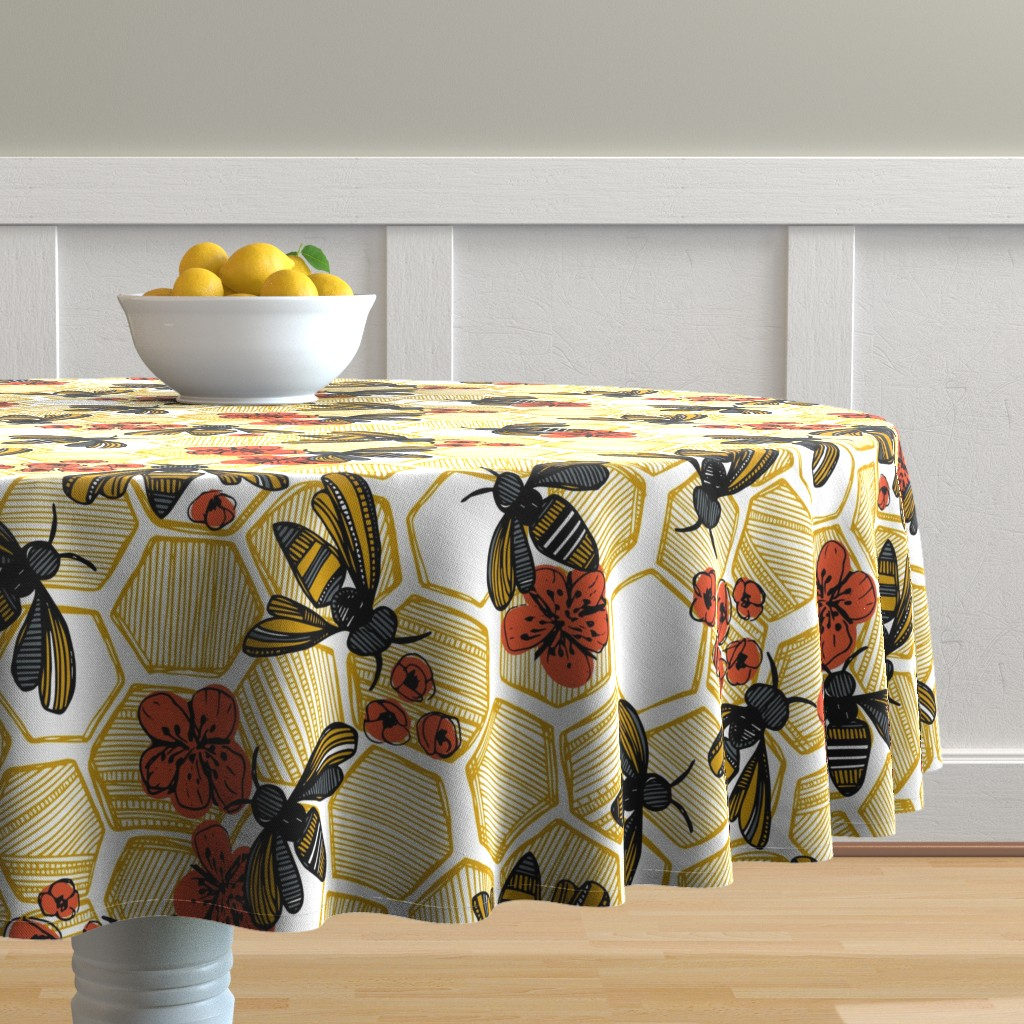 Malay Round Tablecloth featuring Honey Bee Hexagon Large by tiffanyheiger