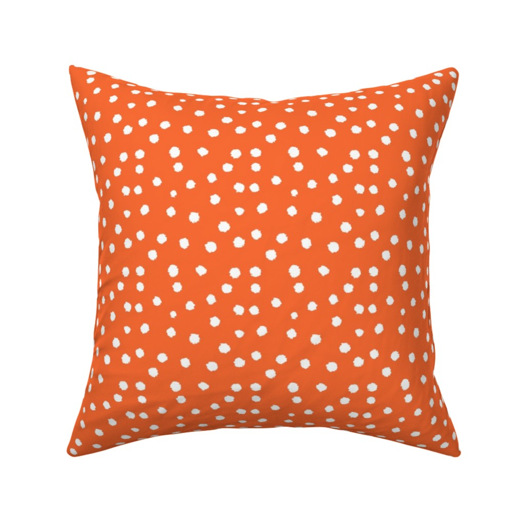 Catalan Throw Pillow featuring Painted Polka Dot // Bright Medium Orange by theartwerks