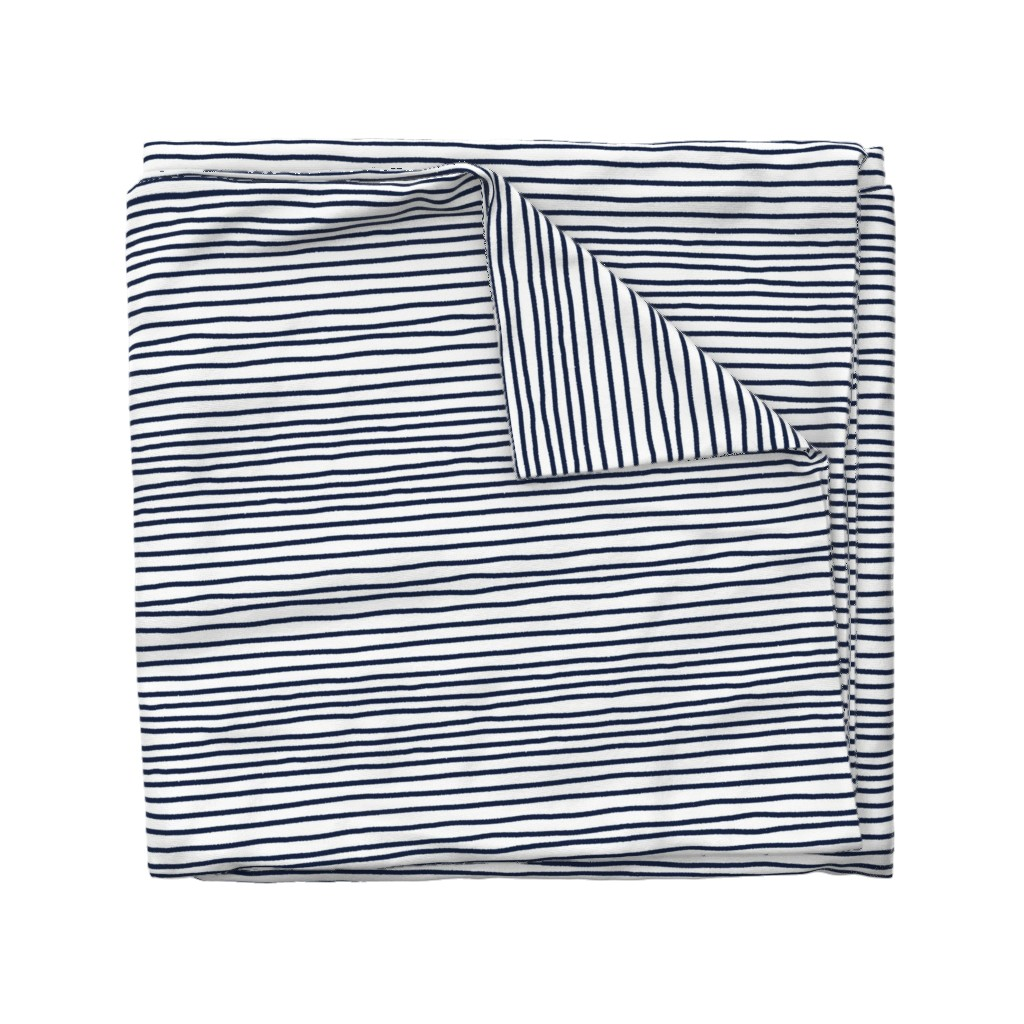 Wyandotte Duvet Cover featuring Sketchy Stripes // Navy  by theartwerks