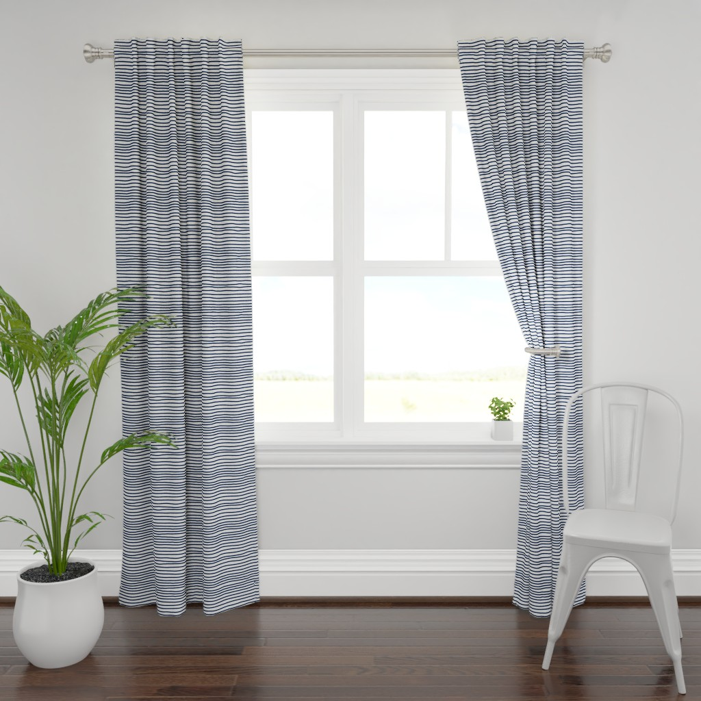 Plymouth Curtain Panel featuring Sketchy Stripes // Navy  by theartwerks