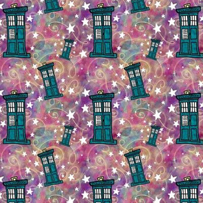 Project 330 | Police Boxes on Watercolor Starfield | Raspberry Multicolor
