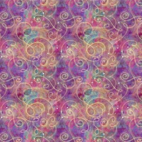 Pink and Purple Watercolor Starfield | Raspberry Multicolor