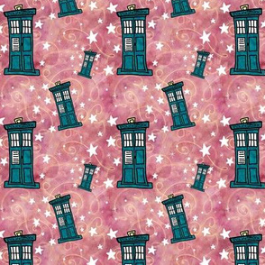 Police Boxes on Watercolor | Strawberry Pink with Gold Swirls