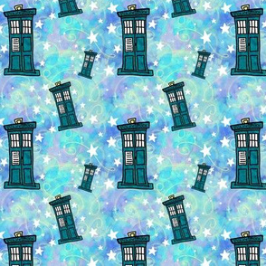 Police Box on Watercolor | Blue with Gold Swirls