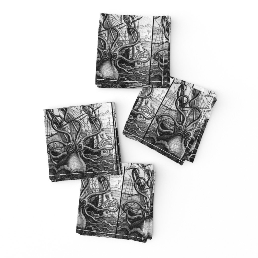 Frizzle Cocktail Napkins featuring sailing boats ships nautical sea ocean waves yacht kraken monsters octopus squids animals birds trees mountains huts vintage antiques  monochrome black white by raveneve