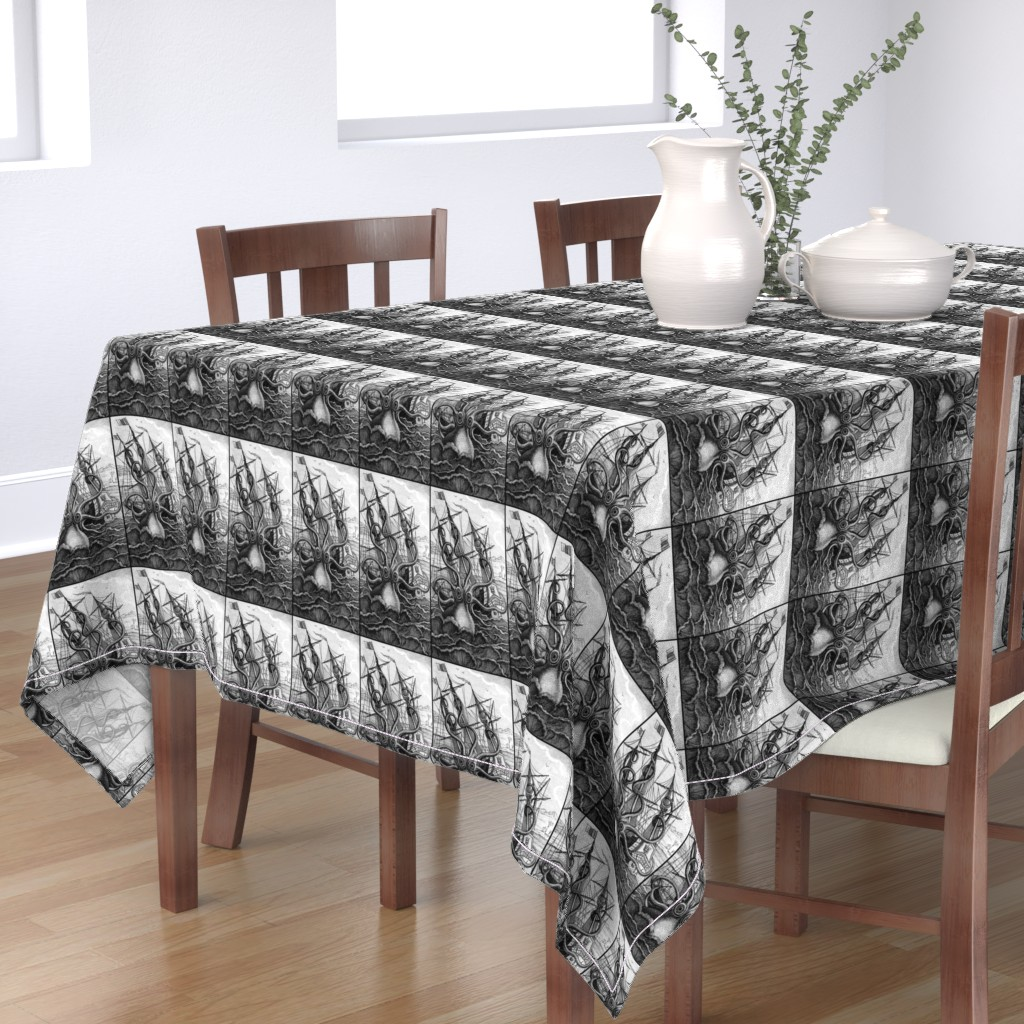 Bantam Rectangular Tablecloth featuring sailing boats ships nautical sea ocean waves yacht kraken monsters octopus squids animals birds trees mountains huts vintage antiques  monochrome black white by raveneve