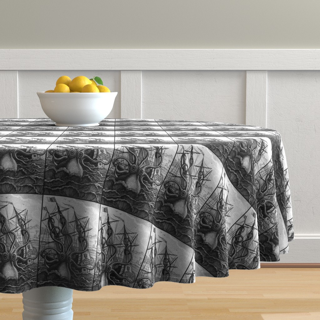 Malay Round Tablecloth featuring sailing boats ships nautical sea ocean waves yacht kraken monsters octopus squids animals birds trees mountains huts vintage antiques  monochrome black white by raveneve