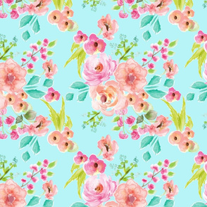 bright and cheery floral dark mint
