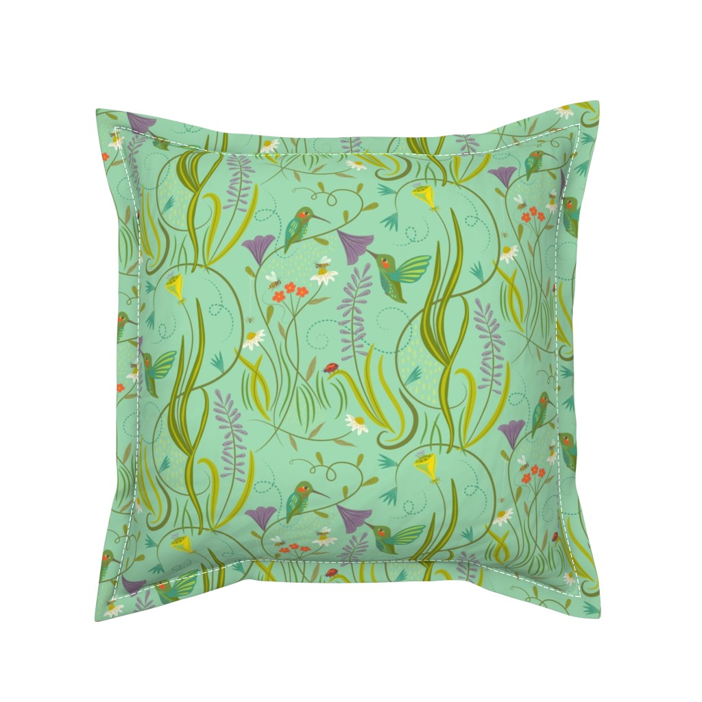 Serama Throw Pillow featuring Hummingbirds_on_Sea_Foam_Green by johannaparkerdesign