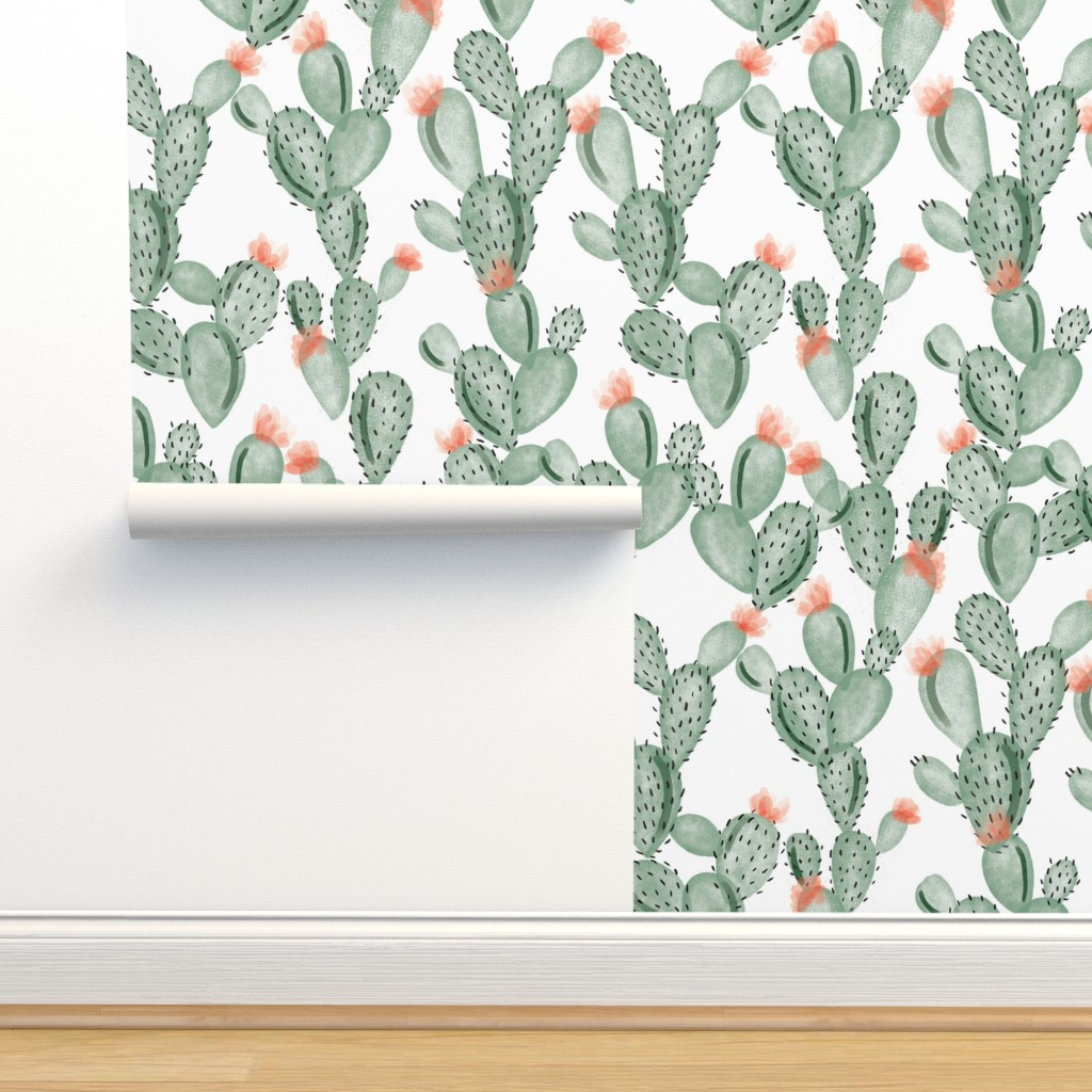 Isobar Durable Wallpaper featuring green paddle cactus + rose by ivieclothco