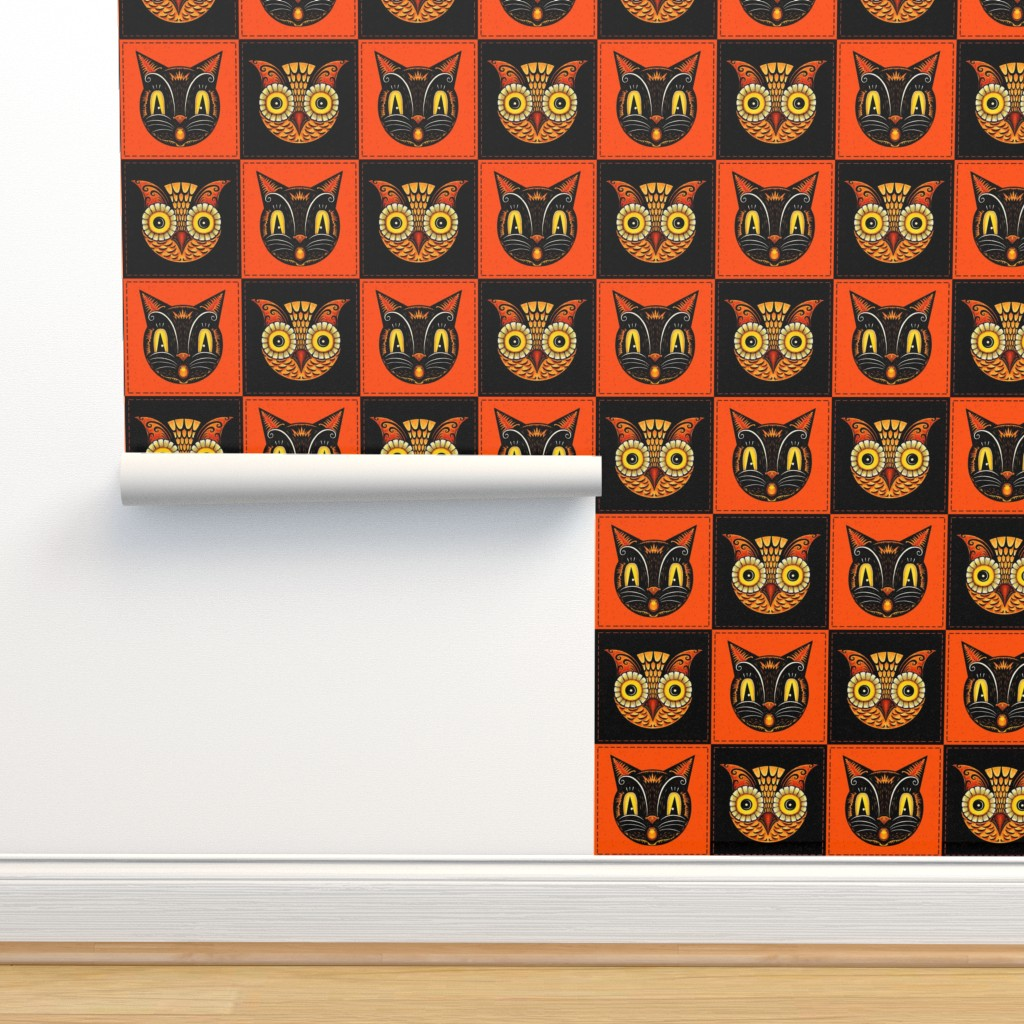 Isobar Durable Wallpaper featuring Halloween_Cat_Owl_checkerboard by johannaparkerdesign
