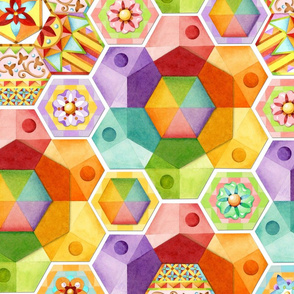 Rainbow Hexagons Patchwork