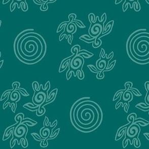 Spirit of the Sea_turtles_&_spirals_bluegreen