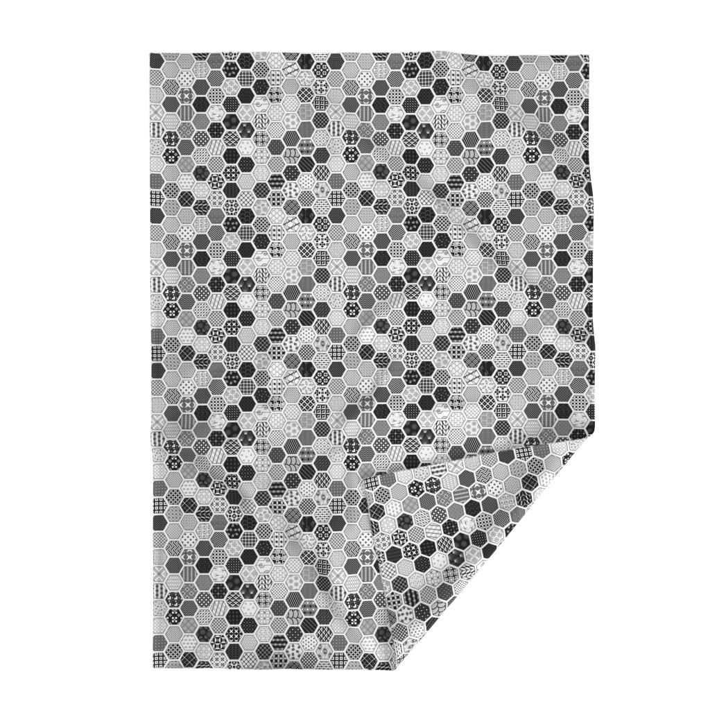 Lakenvelder Throw Blanket featuring Hexagon Modern Cheater Quilt White Black by wickedrefined