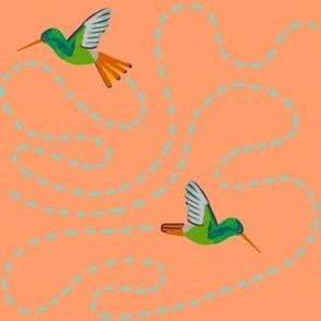 hummingbird chase [peach]