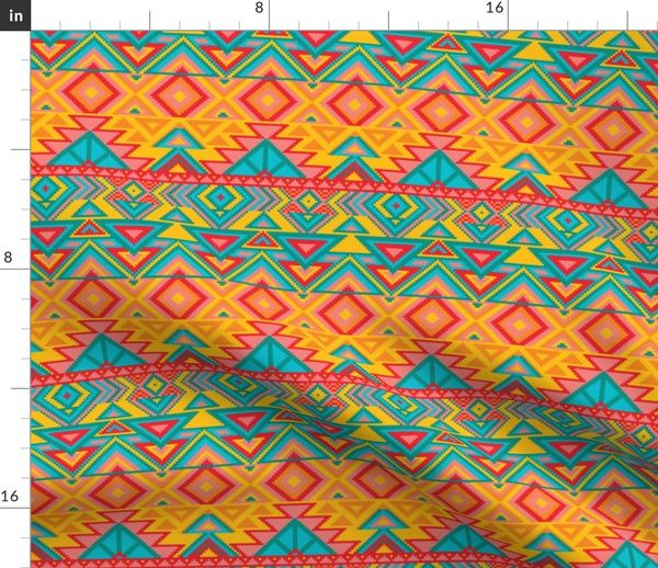 Fabric by the Yard Aztec Tribal Native American Mexican Mayan Boho  Pattern-05-01