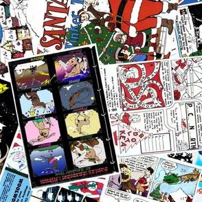 vintage comic book santa - LARGE PRINT