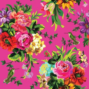 "8"" Floral Pop with Birds / Fuschia"