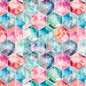 Translucent Watercolor Hexagon Cubes small version