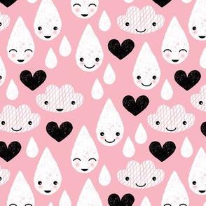Soft clouds rain drops sweet dreams kawaii love sparkle sky soft pink
