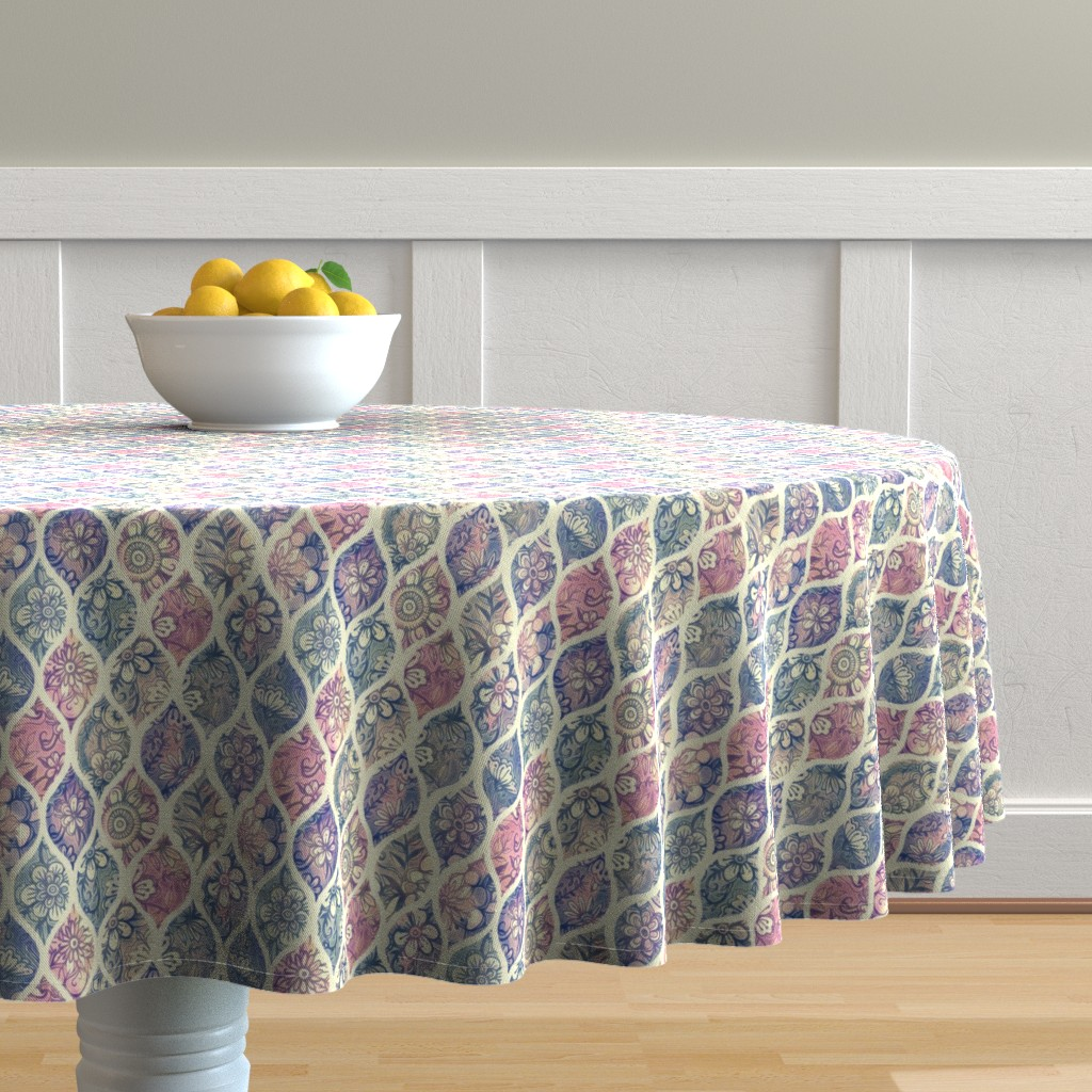 Malay Round Tablecloth featuring Patterned & Painted Floral Ogee in Vintage Tones small version by micklyn