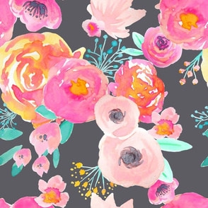 INDY BLOOM BLUSH Florals Grey_B