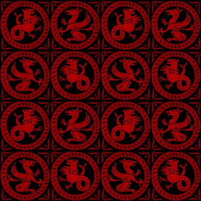 13th Century Dragon Tile ~ Richelieu Red on Black ~ Medium