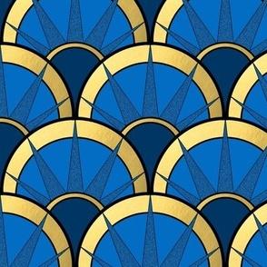 Art Deco Fancy Fan in Navy and Gold