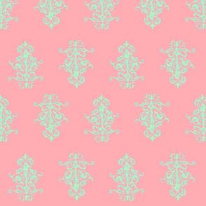 midcentury baroque - coral mint