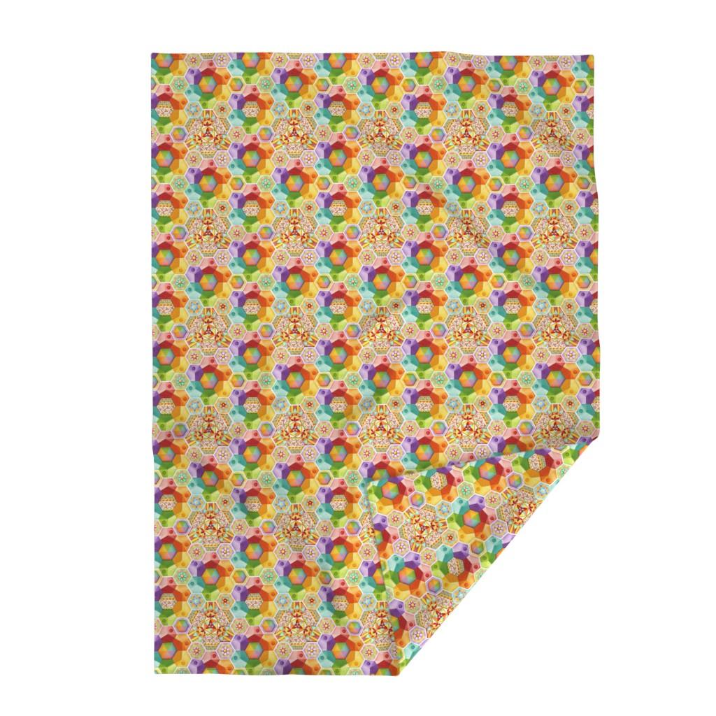 Lakenvelder Throw Blanket featuring Rainbow Hexagons Patchwork (smaller scale by patriciasheadesigns
