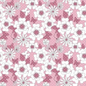 Pink and white flowers .