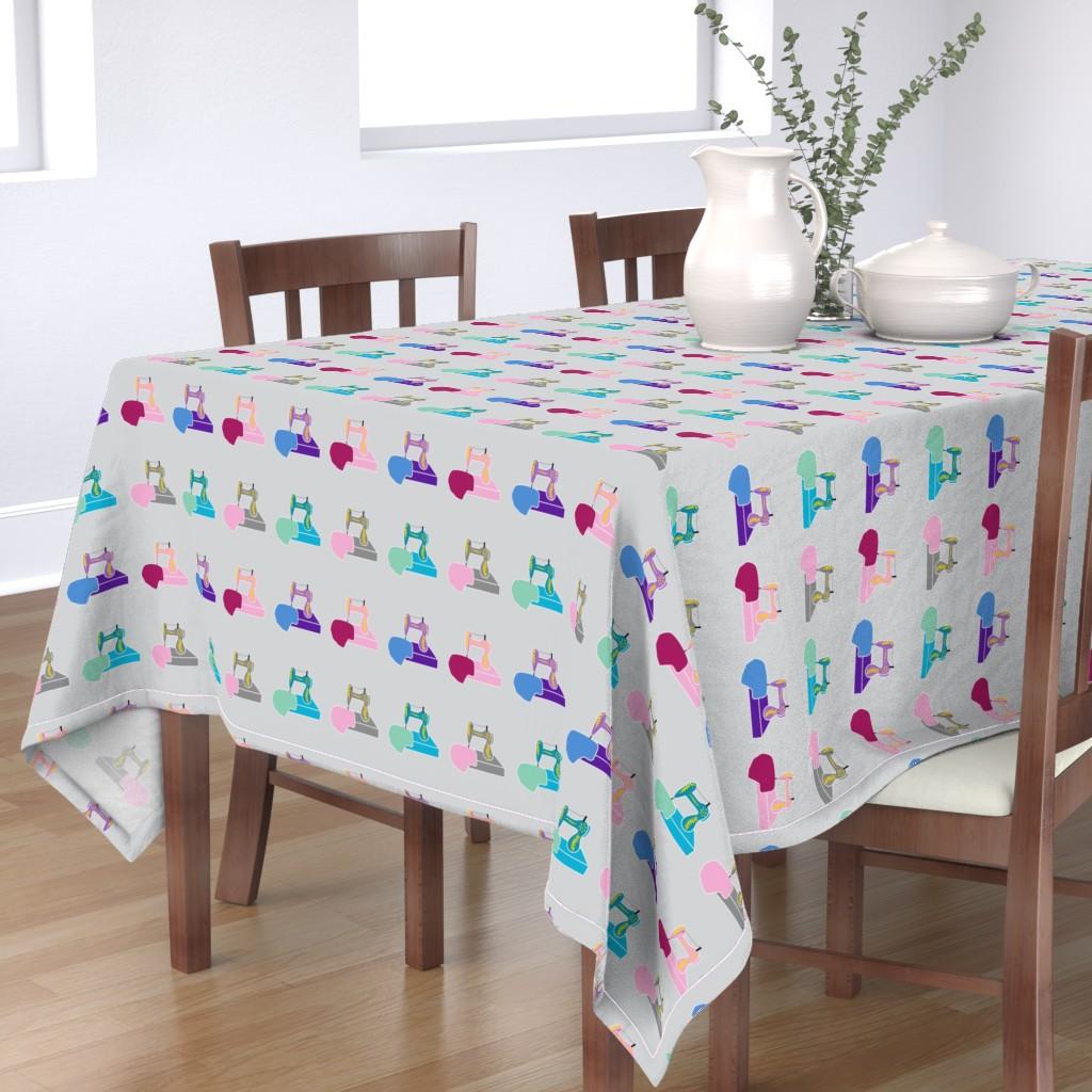 Bantam Rectangular Tablecloth featuring Sewing Machines Multicolor Grey by flamincatdesigns