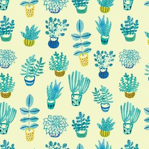 Watercolor Succulents: Light Yellow