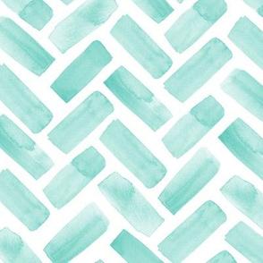 watercolor herringbone - green