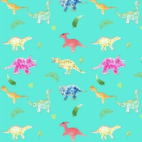 Dinosaurs on teal