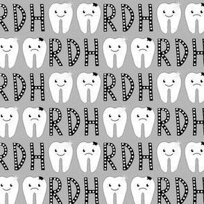 "RDH Happy Tooth Sad Tooth 1"" grey Franbail"