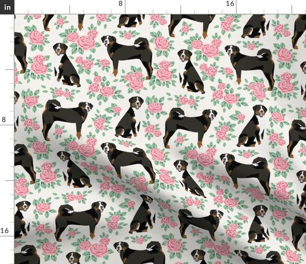 Fabric By The Yard Appenzeller Sennehund Swiss Mountain Dog Fabric Roses Floral Dog Design Off White Medium Size